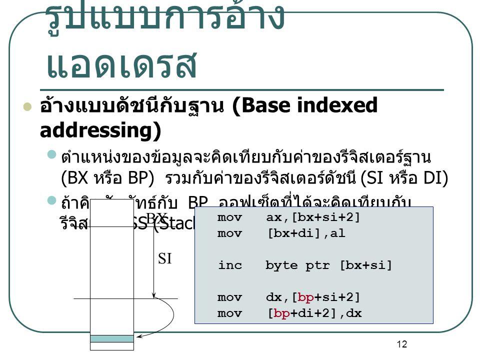 12 รูปแบบการอ้าง แอดเดรส อ้างแบบดัชนีกับฐาน (Base indexed addressing) ตำแหน่งของข้อมูลจะคิดเทียบกับค่าของรีจิสเตอร์ฐาน (BX หรือ BP) รวมกับค่าของรีจิสเ
