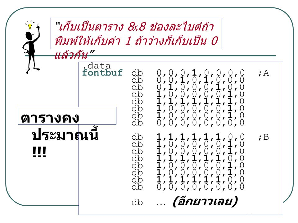 """14 """" เก็บเป็นตาราง 8x8 ช่องละไบต์ถ้า พิมพ์ให้เก็บค่า 1 ถ้าว่างก็เก็บเป็น 0 แล้วกัน """".data fontbufdb0,0,0,1,0,0,0,0 ;A db0,0,1,0,1,0,0,0 db0,1,0,0,0,1,"""