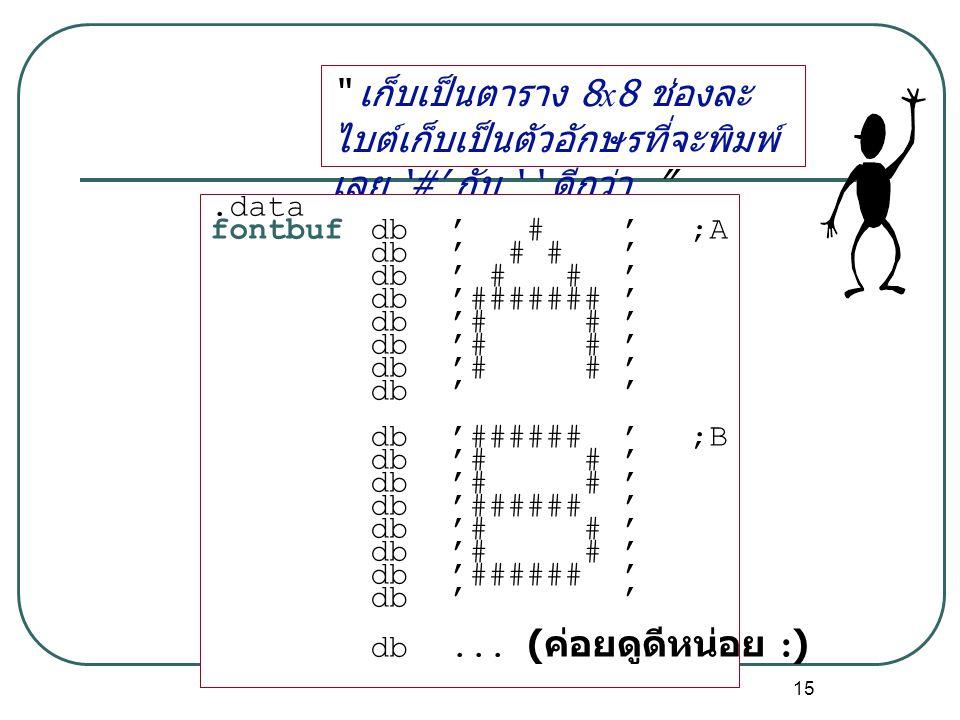 """15 """" เก็บเป็นตาราง 8x8 ช่องละ ไบต์เก็บเป็นตัวอักษรที่จะพิมพ์ เลย '#' กับ ' ' ดีกว่า """".data fontbufdb ' # ' ;A db ' # # ' db ' ####### ' db ' # # ' db"""