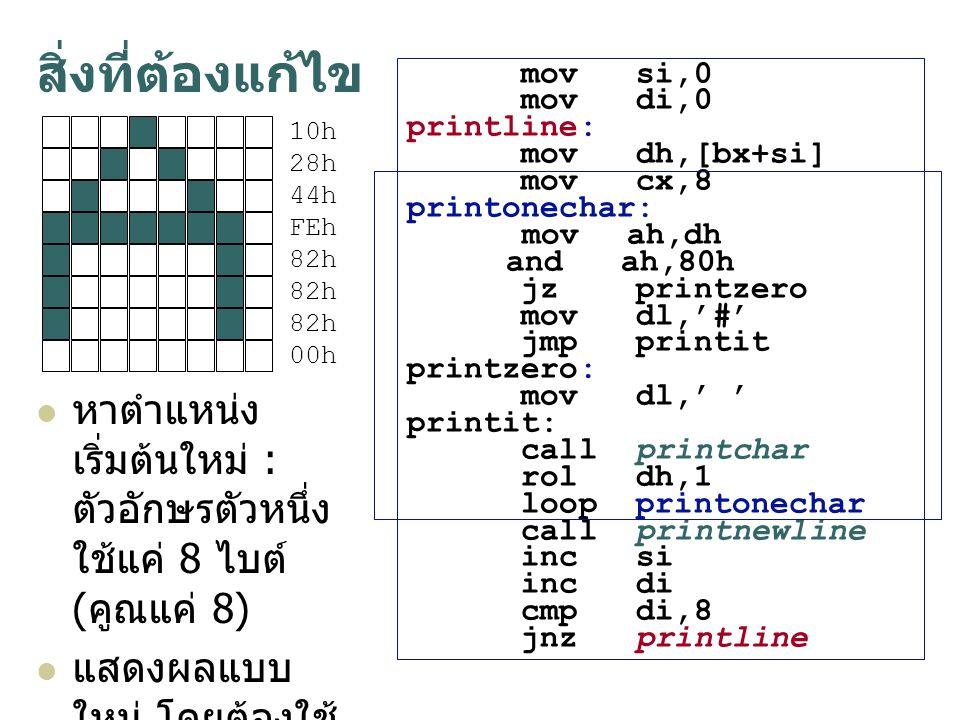 mov si,0 mov di,0 printline: mov dh,[bx+si] mov cx,8 printonechar: mov ah,dh and ah,80h jz printzero mov dl, ' # ' jmp printit printzero: mov dl, ' '