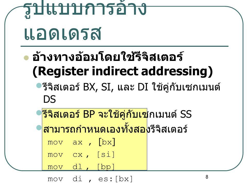 8 อ้างทางอ้อมโดยใช้รีจิสเตอร์ (Register indirect addressing) รีจิสเตอร์ BX, SI, และ DI ใช้คู่กับเซกเมนต์ DS รีจิสเตอร์ BP จะใช้คู่กับเซกเมนต์ SS สามาร