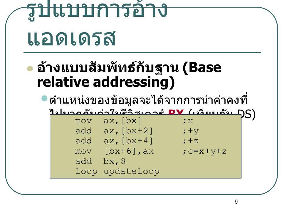 9 อ้างแบบสัมพัทธ์กับฐาน (Base relative addressing) ตำแหน่งของข้อมูลจะได้จากการนำค่าคงที่ ไปบวกกับค่าในรีจิสเตอร์ BX ( เทียบกับ DS) หรือ BP ( เทียบกับ