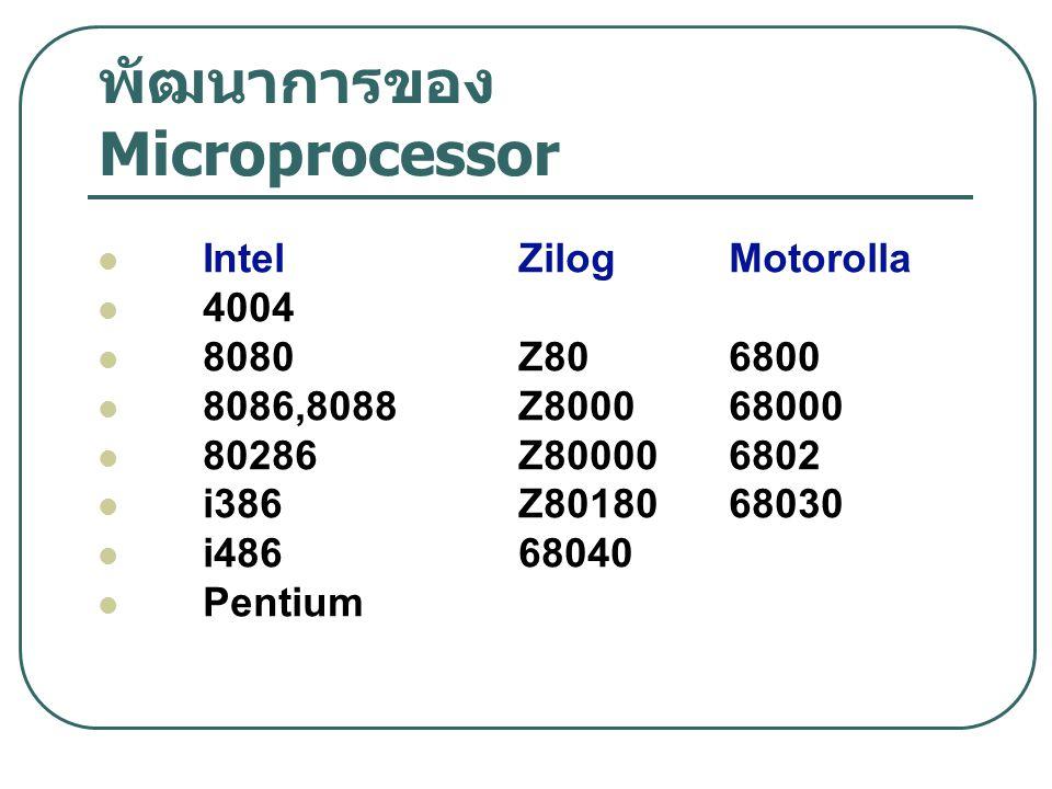 พัฒนาการของ Microprocessor Intel ZilogMotorolla 4004 8080Z806800 8086,8088Z800068000 80286Z800006802 i386Z8018068030 i48668040 Pentium
