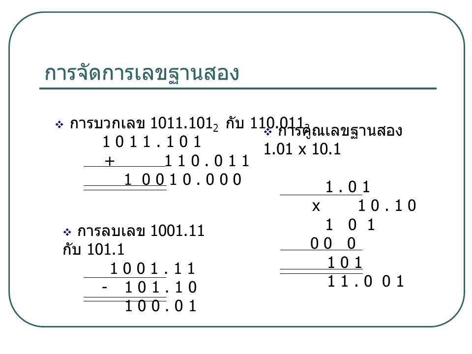 การจัดการเลขฐานสอง  การลบเลข 1001.11 กับ 101.1 1 0 0 1. 1 1 - 1 0 1. 1 0 1 0 0. 0 1  การบวกเลข 1011.101 2 กับ 110.011 2 1 0 1 1. 1 0 1 + 1 1 0. 0 1