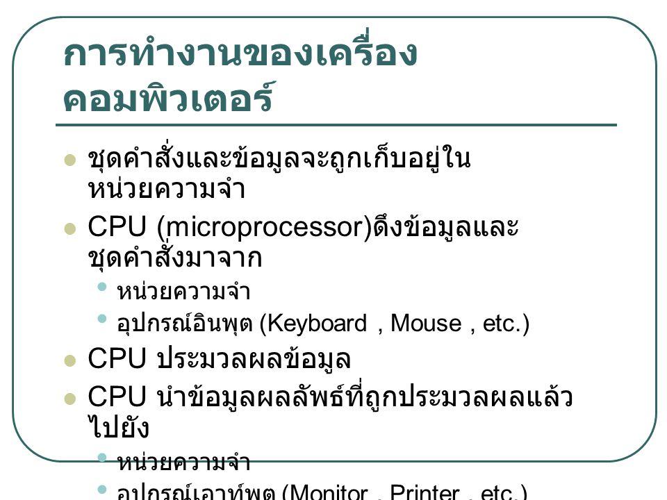 การทำงานของเครื่อง คอมพิวเตอร์ ชุดคำสั่งและข้อมูลจะถูกเก็บอยู่ใน หน่วยความจำ CPU (microprocessor) ดึงข้อมูลและ ชุดคำสั่งมาจาก หน่วยความจำ อุปกรณ์อินพุ