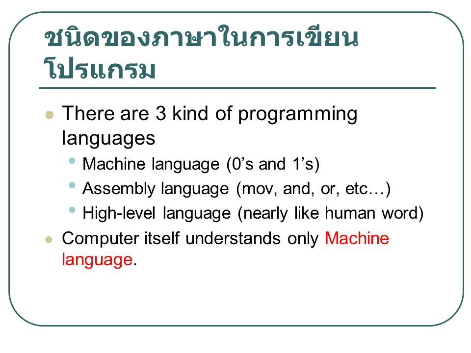 ชนิดของภาษาในการเขียน โปรแกรม There are 3 kind of programming languages Machine language (0's and 1's) Assembly language (mov, and, or, etc…) High-lev