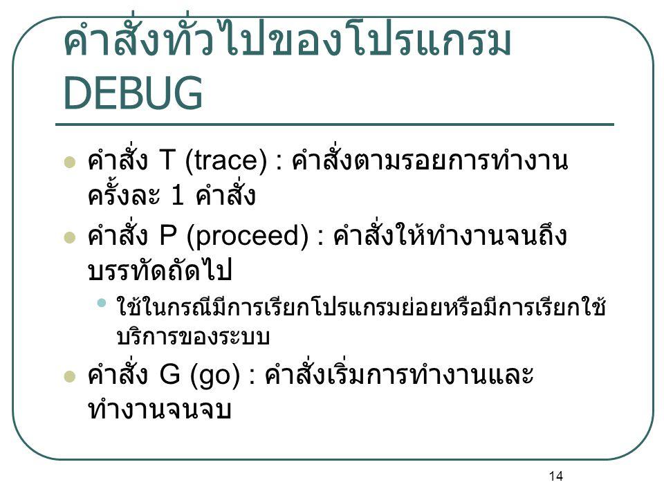 14 คำสั่งทั่วไปของโปรแกรม DEBUG คำสั่ง T (trace) : คำสั่งตามรอยการทำงาน ครั้งละ 1 คำสั่ง คำสั่ง P (proceed) : คำสั่งให้ทำงานจนถึง บรรทัดถัดไป ใช้ในกรณีมีการเรียกโปรแกรมย่อยหรือมีการเรียกใช้ บริการของระบบ คำสั่ง G (go) : คำสั่งเริ่มการทำงานและ ทำงานจนจบ