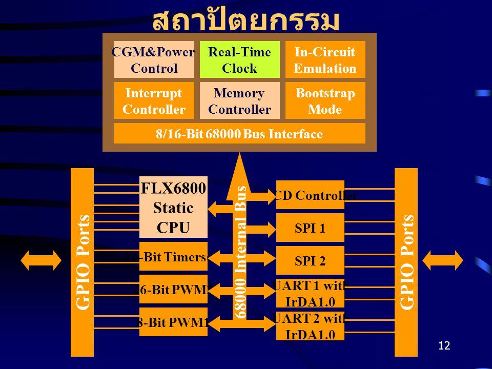 12 สถาปัตยกรรม CGM&Power Control Real-Time Clock In-Circuit Emulation Interrupt Controller Memory Controller Bootstrap Mode 8/16-Bit 68000 Bus Interface FLX6800 Static CPU 16-Bit Timers(2) 8-Bit PWM1 16-Bit PWM2 SPI 1 UART 2 with IrDA1.0 UART 1 with IrDA1.0 SPI 2 LCD Controller GPIO Ports 68000 Internal Bus