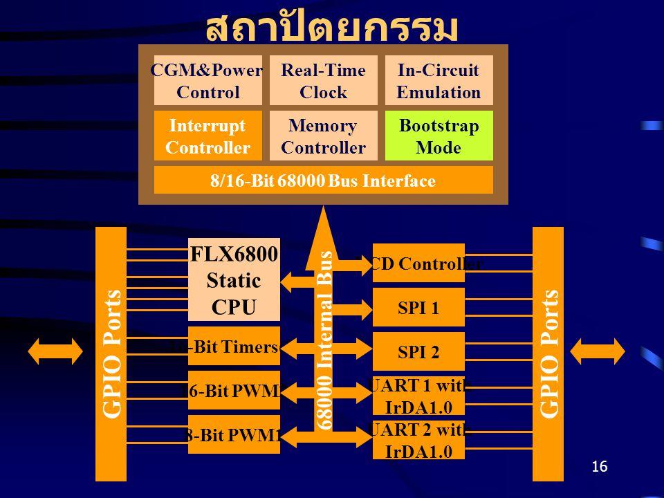 16 สถาปัตยกรรม CGM&Power Control Real-Time Clock In-Circuit Emulation Interrupt Controller Memory Controller Bootstrap Mode 8/16-Bit 68000 Bus Interface FLX6800 Static CPU 16-Bit Timers(2) 8-Bit PWM1 16-Bit PWM2 SPI 1 UART 2 with IrDA1.0 UART 1 with IrDA1.0 SPI 2 LCD Controller GPIO Ports 68000 Internal Bus