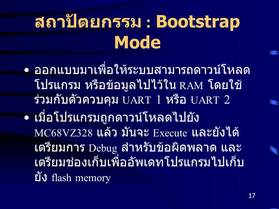 17 สถาปัตยกรรม : Bootstrap Mode ออกแบบมาเพื่อให้ระบบสามารถดาวน์โหลด โปรแกรม หรือข้อมูลไปไว้ใน RAM โดยใช้ ร่วมกับตัวควบคุม UART 1 หรือ UART 2 เมื่อโปรแกรมถูกดาวน์โหลดไปยัง MC68VZ328 แล้ว มันจะ Execute และยังได้ เตรียมการ Debug สำหรับข้อผิดพลาด และ เตรียมช่องเก็บเพื่ออัพเดทโปรแกรมไปเก็บ ยัง flash memory