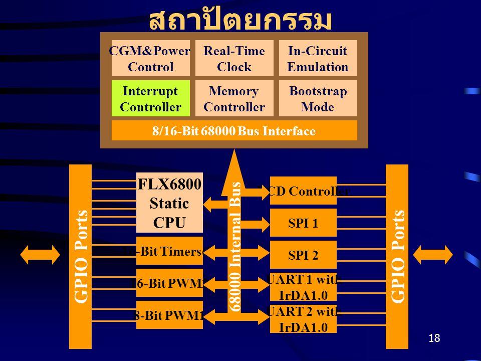 18 สถาปัตยกรรม CGM&Power Control Real-Time Clock In-Circuit Emulation Interrupt Controller Memory Controller Bootstrap Mode 8/16-Bit 68000 Bus Interface FLX6800 Static CPU 16-Bit Timers(2) 8-Bit PWM1 16-Bit PWM2 SPI 1 UART 2 with IrDA1.0 UART 1 with IrDA1.0 SPI 2 LCD Controller GPIO Ports 68000 Internal Bus