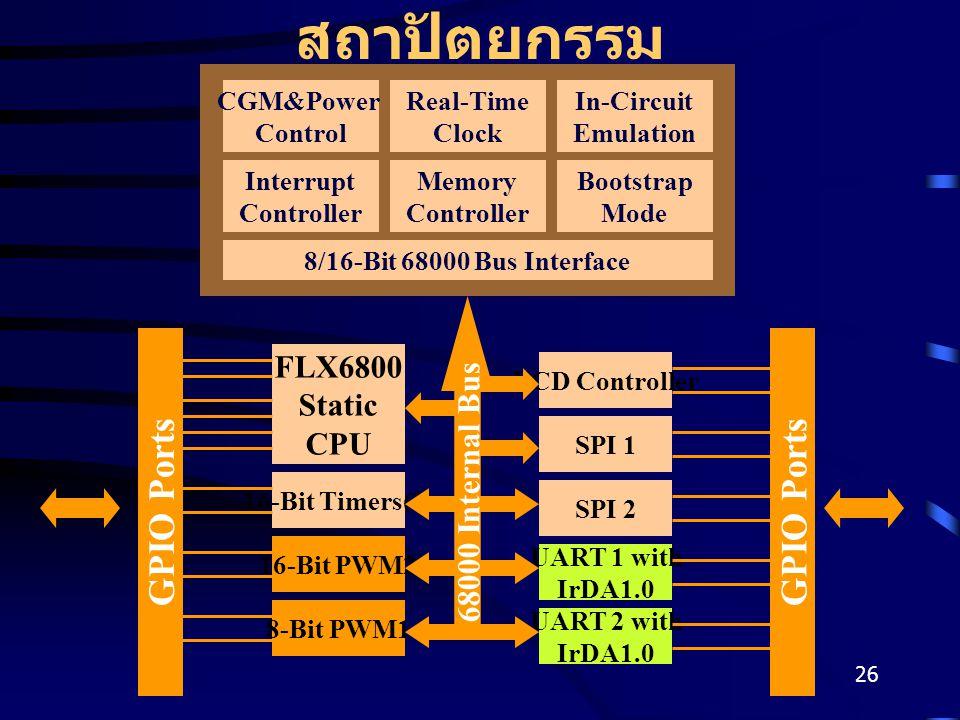 26 สถาปัตยกรรม CGM&Power Control Real-Time Clock In-Circuit Emulation Interrupt Controller Memory Controller Bootstrap Mode 8/16-Bit 68000 Bus Interface FLX6800 Static CPU 16-Bit Timers(2) 8-Bit PWM1 16-Bit PWM2 SPI 1 UART 2 with IrDA1.0 UART 1 with IrDA1.0 SPI 2 LCD Controller GPIO Ports 68000 Internal Bus