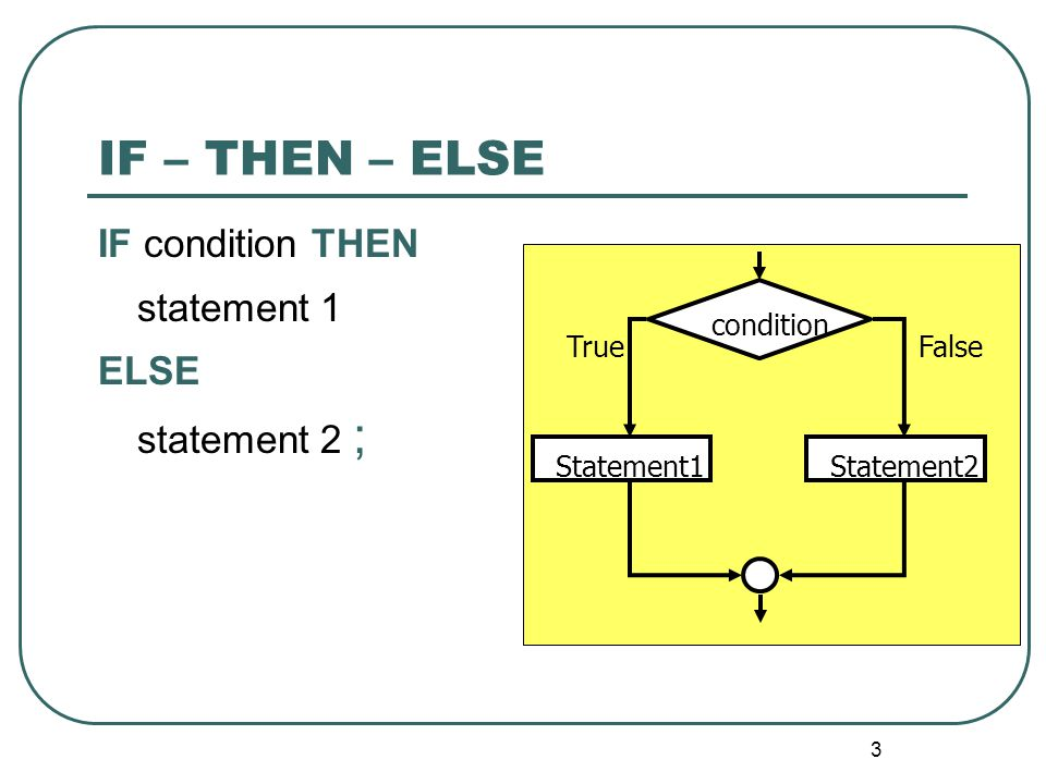 4 Nested Condition condition1 False True Statement1 condition2 FalseTrue Statement3Statement2 IF cond1 THEN statement1 ELSE IF cond2 THEN Statement2 ELSE statement3