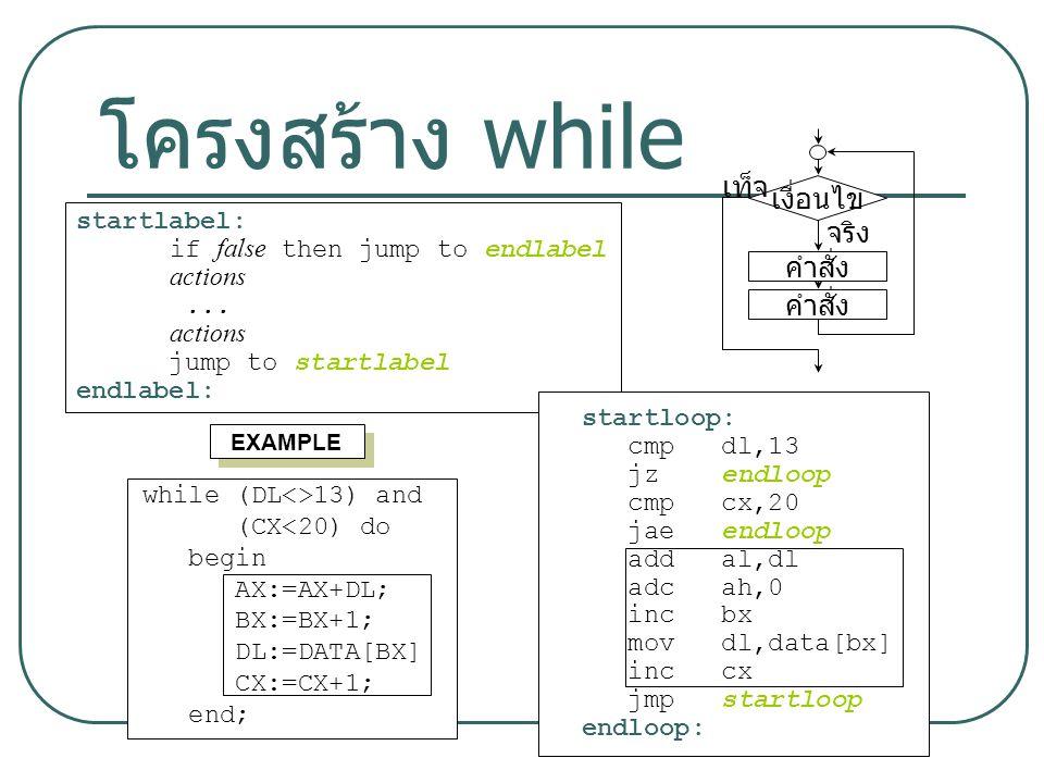 9 โครงสร้าง while คำสั่ง เงื่อนไข คำสั่ง เท็จ จริง startlabel: if false then jump to endlabel actions... actions jump to startlabel endlabel: EXAMPLE