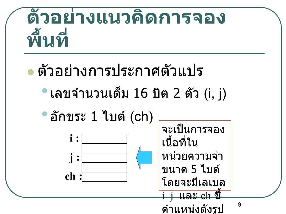 9 ตัวอย่างแนวคิดการจอง พื้นที่ ตัวอย่างการประกาศตัวแปร เลขจำนวนเต็ม 16 บิต 2 ตัว (i, j) อักขระ 1 ไบต์ (ch) i : j : ch : จะเป็นการจอง เนื้อที่ใน หน่วยค