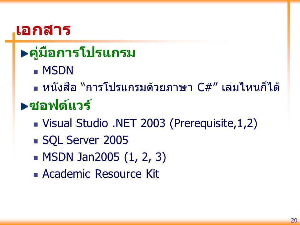 20 เอกสาร คู่มือการโปรแกรม MSDN หนังสือ การโปรแกรมด้วยภาษา C# เล่มไหนก็ได้ ซอฟต์แวร์ Visual Studio.NET 2003 (Prerequisite,1,2) SQL Server 2005 MSDN Jan2005 (1, 2, 3) Academic Resource Kit
