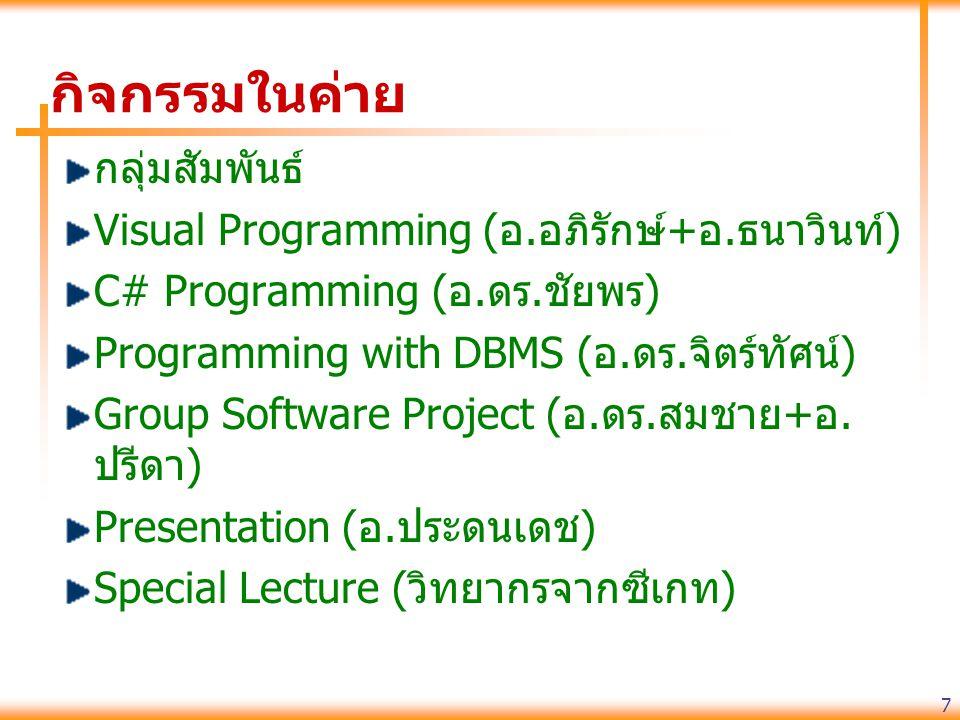 7 กิจกรรมในค่าย กลุ่มสัมพันธ์ Visual Programming (อ.อภิรักษ์+อ.ธนาวินท์) C# Programming (อ.ดร.ชัยพร) Programming with DBMS (อ.ดร.จิตร์ทัศน์) Group Software Project (อ.ดร.สมชาย+อ.