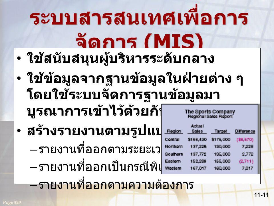 11-11 ระบบสารสนเทศเพื่อการ จัดการ (MIS) ใช้สนับสนุนผู้บริหารระดับกลาง ใช้ข้อมูลจากฐานข้อมูลในฝ่ายต่าง ๆ โดยใช้ระบบจัดการฐานข้อมูลมา บูรณาการเข้าไว้ด้ว