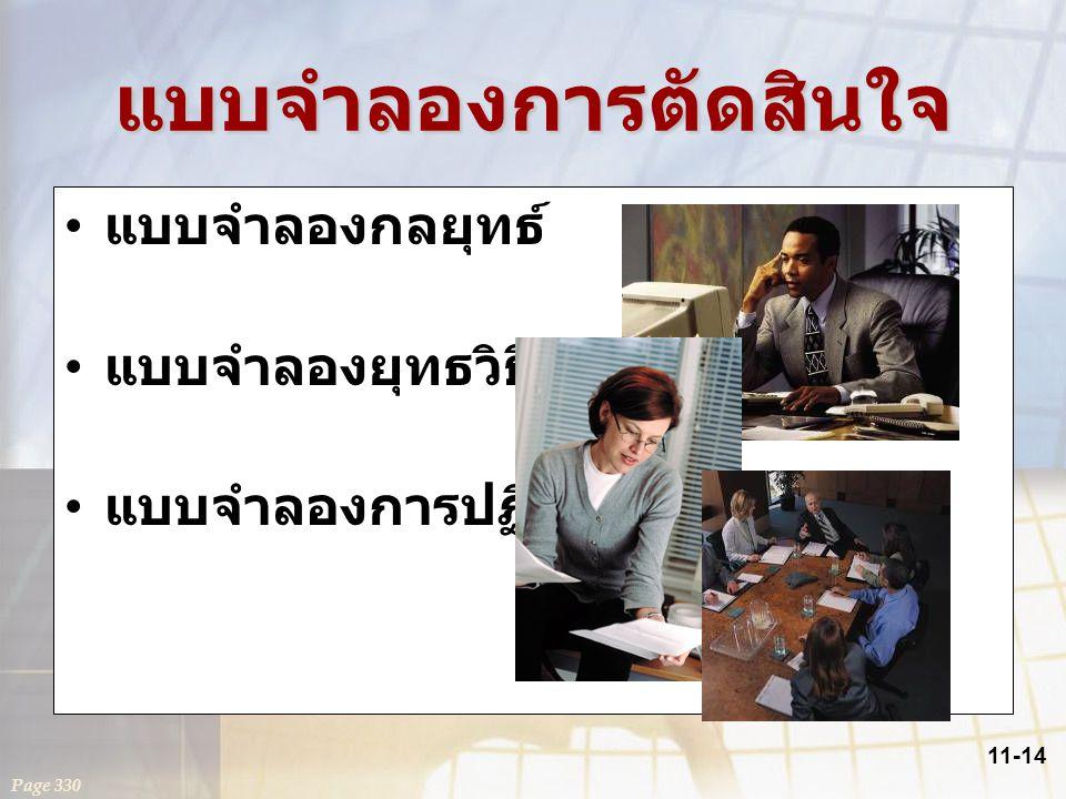 11-14 แบบจำลองการตัดสินใจ แบบจำลองกลยุทธ์ แบบจำลองยุทธวิธี แบบจำลองการปฏิบัติงาน Page 330