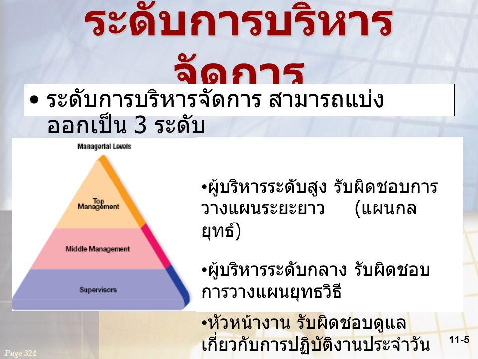 11-5 ระดับการบริหาร จัดการ ระดับการบริหารจัดการ สามารถแบ่ง ออกเป็น 3 ระดับ Page 324 ผู้บริหารระดับสูง รับผิดชอบการ วางแผนระยะยาว ( แผนกล ยุทธ์ ) ผู้บร