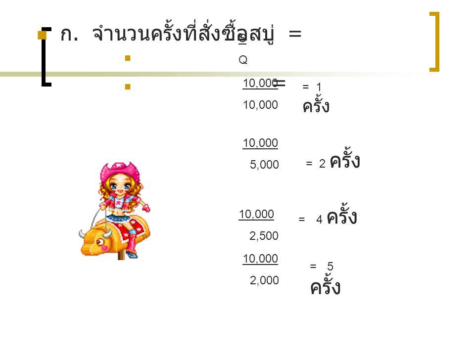 ก. จำนวนครั้งที่สั่งซื้อสบู่ = = 10,000 SQSQ 5,000 = 2 ครั้ง = 4 ครั้ง 10,000 2,000 = 5 ครั้ง = 1 ครั้ง 10,000 2,500