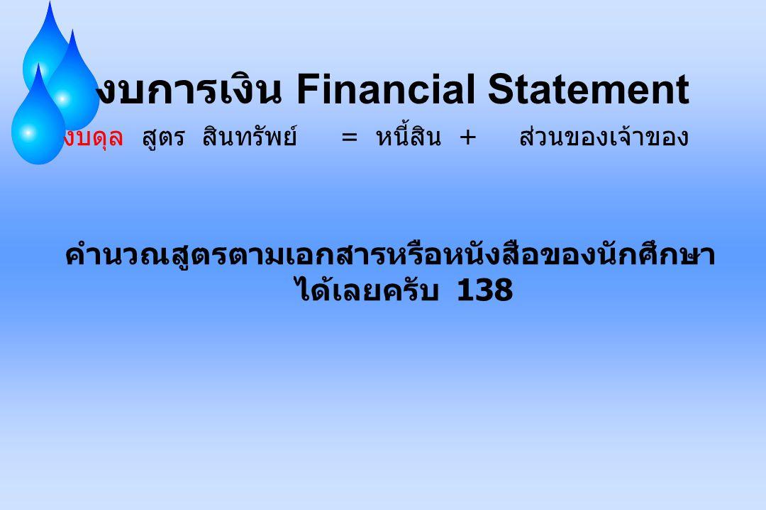 งบการเงิน Financial Statement งบดุล สูตร สินทรัพย์ = หนี้สิน + ส่วนของเจ้าของ คำนวณสูตรตามเอกสารหรือหนังสือของนักศึกษา ได้เลยครับ 138