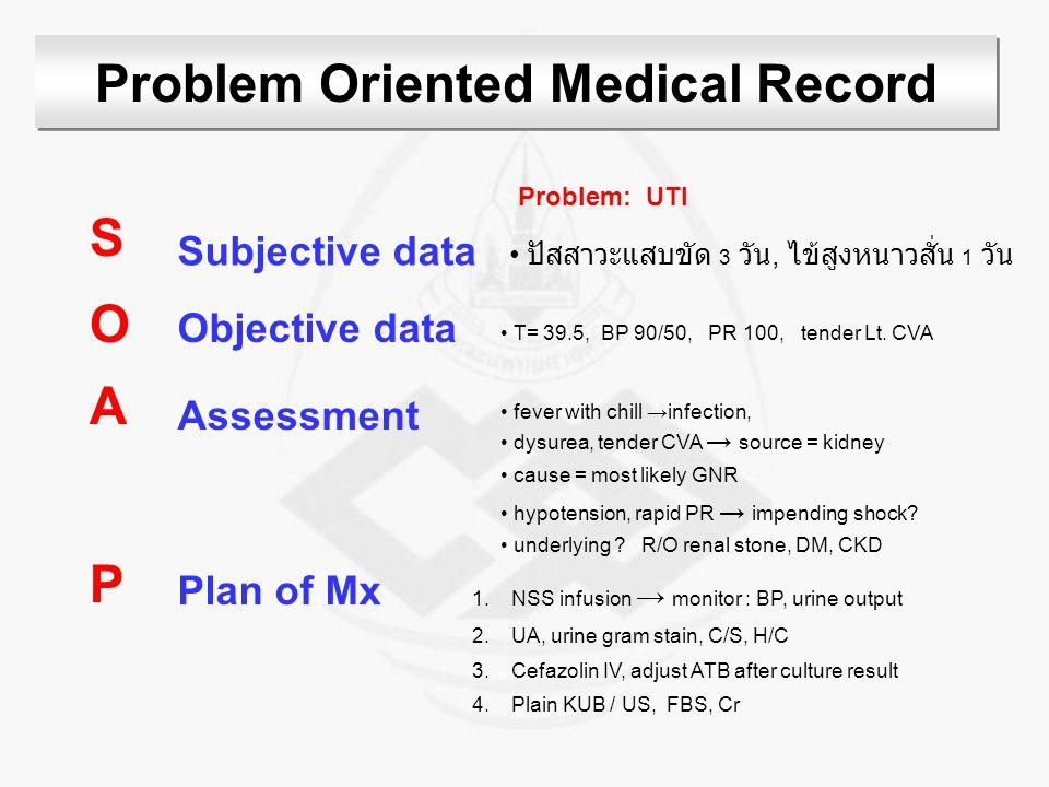 Problem Oriented Medical Record SOAPSOAP Subjective data Objective data Assessment Plan of Mx ปัสสาวะแสบขัด 3 วัน, ไข้สูงหนาวสั่น 1 วัน T= 39.5, BP 90