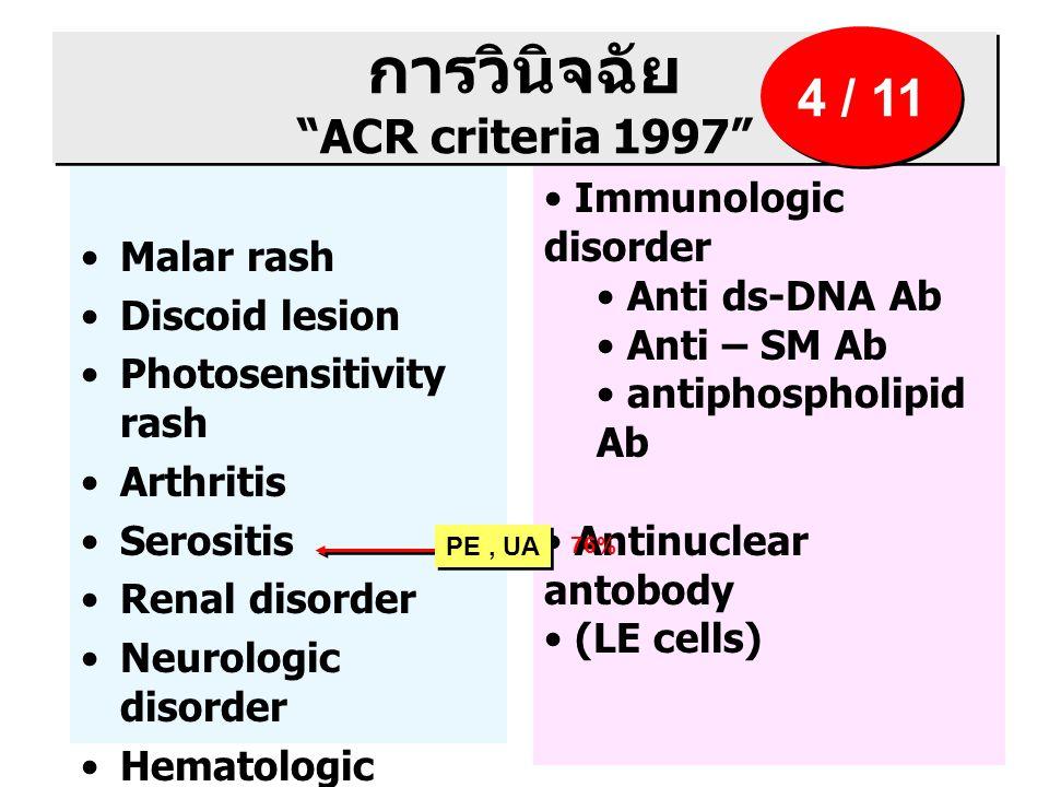 การวินิจฉัย ACR criteria 1997 Malar rash Discoid lesion Photosensitivity rash Arthritis Serositis Renal disorder Neurologic disorder Hematologic disorder Immunologic disorder Anti ds-DNA Ab Anti – SM Ab antiphospholipid Ab Antinuclear antobody (LE cells) 4 / 11 PE, UA 76%