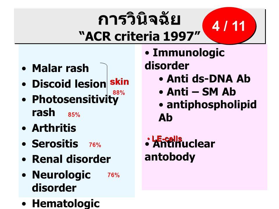 การวินิจฉัย ACR criteria 1997 Malar rash Discoid lesion Photosensitivity rash Arthritis Serositis Renal disorder Neurologic disorder Hematologic disorder Immunologic disorder Anti ds-DNA Ab Anti – SM Ab antiphospholipid Ab Antinuclear antobody 4 / 11 skin 88% 85% 76% LE-cells