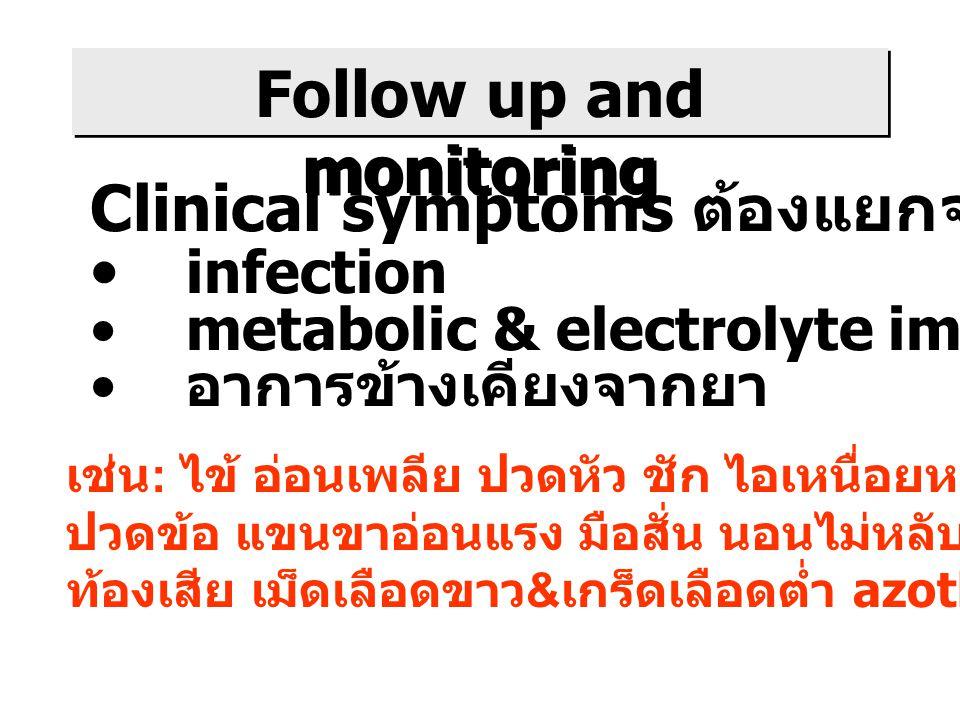 Follow up and monitoring Clinical symptoms ต้องแยกจาก infection metabolic & electrolyte imbalance อาการข้างเคียงจากยา เช่น : ไข้ อ่อนเพลีย ปวดหัว ชัก ไอเหนื่อยหอบ ไอเป็นเลือด ปวดข้อ แขนขาอ่อนแรง มือสั่น นอนไม่หลับ ปวดท้อง ท้องเสีย เม็ดเลือดขาว & เกร็ดเลือดต่ำ azothemia