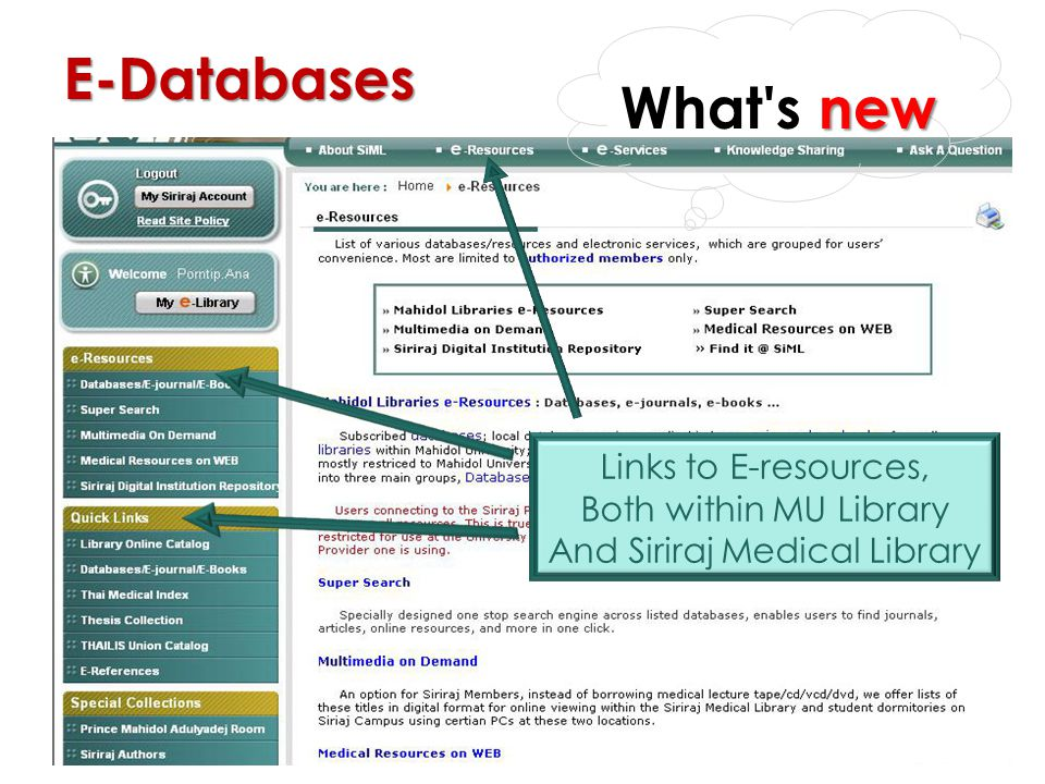 E-Resources Links to E-resources, Both within MU Library And Siriraj Medical Library E-Databases new What's new