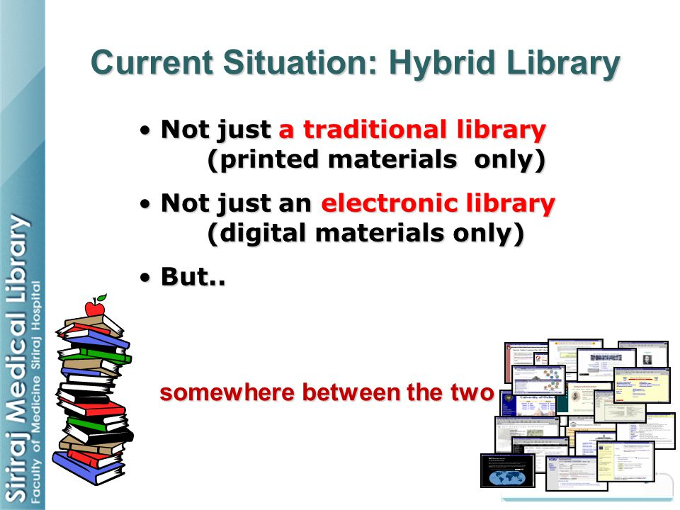 somewhere between the two Current Situation: Hybrid Library Not just a traditional library (printed materials only) Not just a traditional library (pr