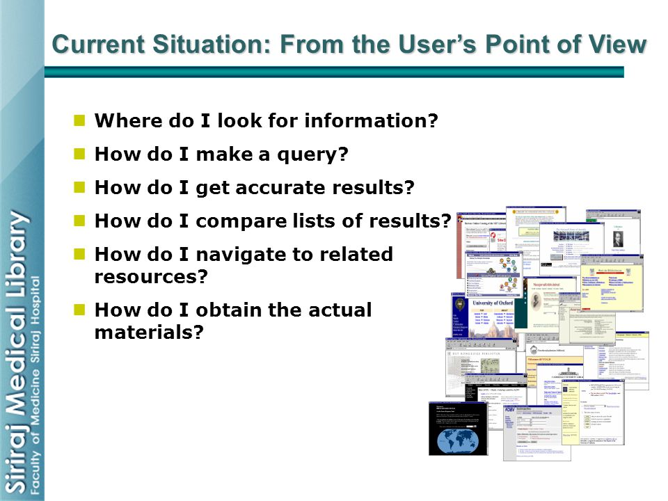 Current Situation: From the User's Point of View Where do I look for information? How do I make a query? How do I get accurate results? How do I compa