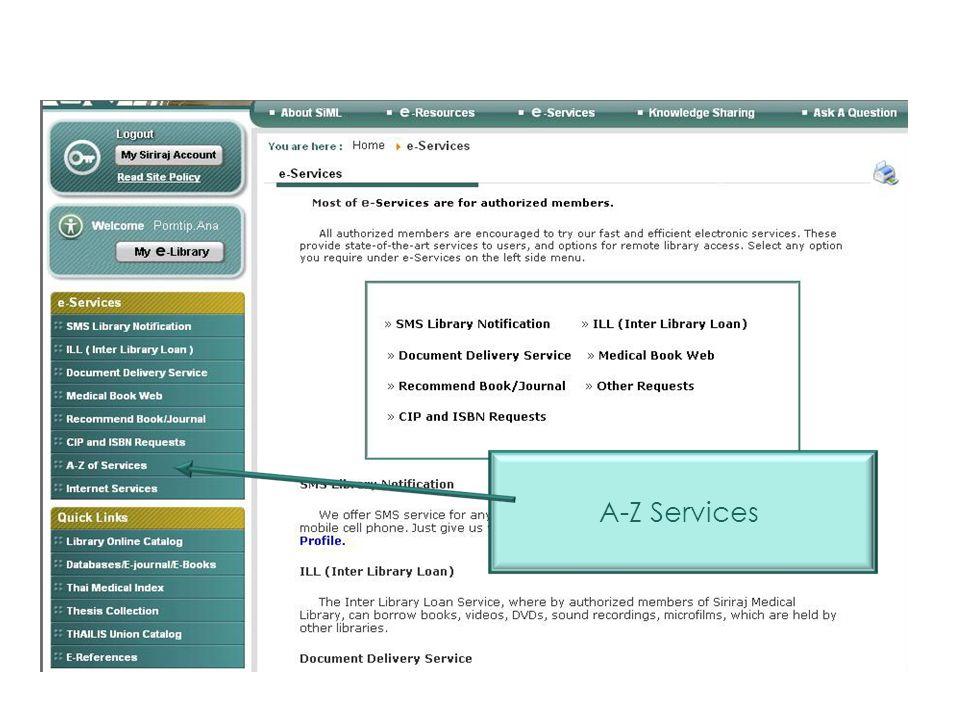E-Services A-Z Services
