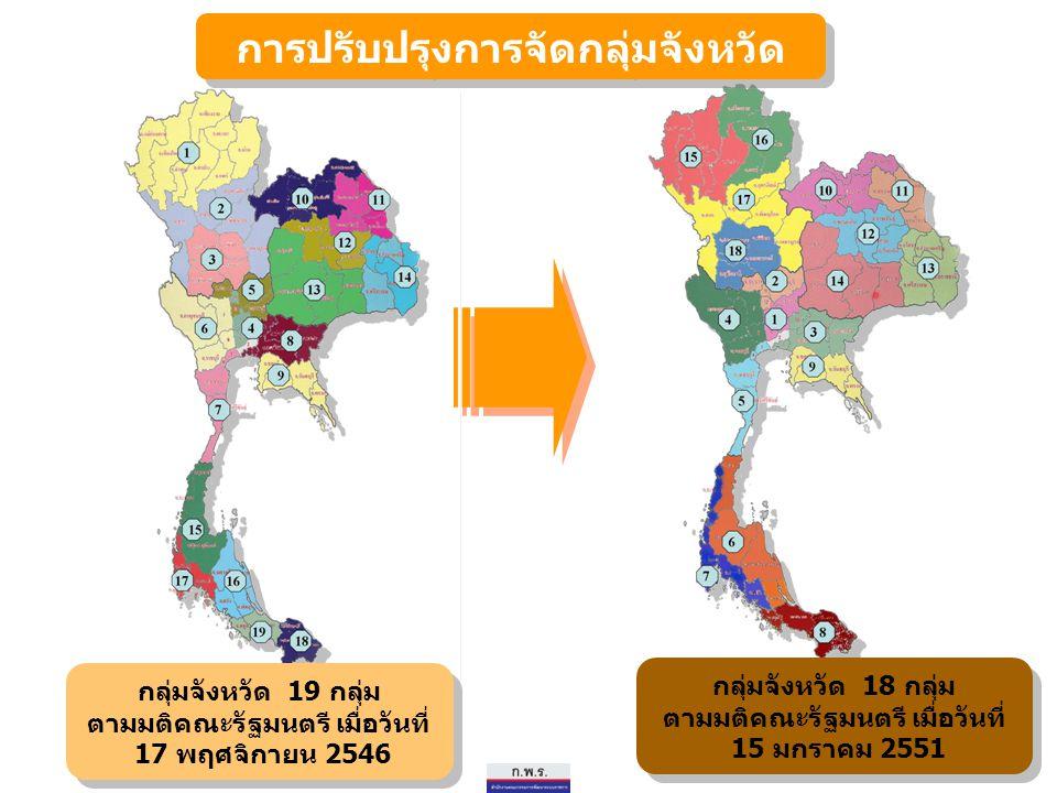 41 กลุ่มจังหวัดและจังหวัดที่เป็นศูนย์ปฏิบัติการกลุ่มจังหวัด กลุ่มจังหวัด 18 กลุ่ม ตามมติคณะรัฐมนตรี เมื่อวันที่ 15 มกราคม 2551