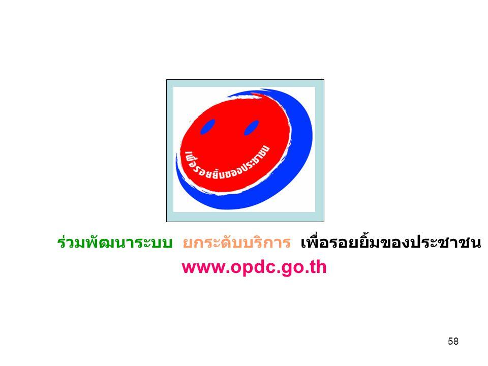 58 ร่วมพัฒนาระบบ ยกระดับบริการ เพื่อรอยยิ้มของประชาชน www.opdc.go.th