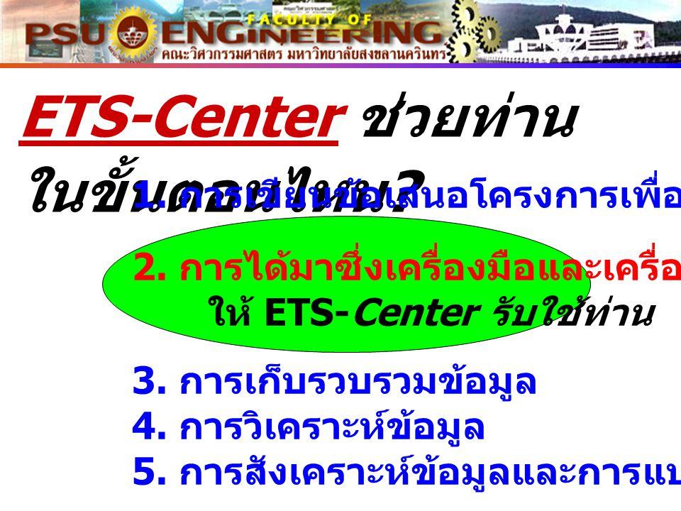 ETS-Center ช่วยท่าน ในขั้นตอนไหน ? 1. การเขียนข้อเสนอโครงการเพื่อขอทุน 2. การได้มาซึ่งเครื่องมือและเครื่องจักร ให้ ETS-Center รับใช้ท่าน 3. การเก็บรวบ