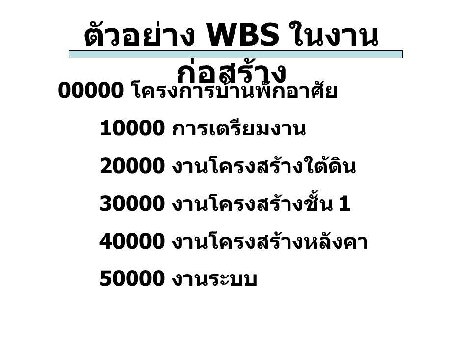 ตัวอย่าง WBS ในงาน ก่อสร้าง 00000 โครงการบ้านพักอาศัย 10000 การเตรียมงาน 20000 งานโครงสร้างใต้ดิน 30000 งานโครงสร้างชั้น 1 40000 งานโครงสร้างหลังคา 50
