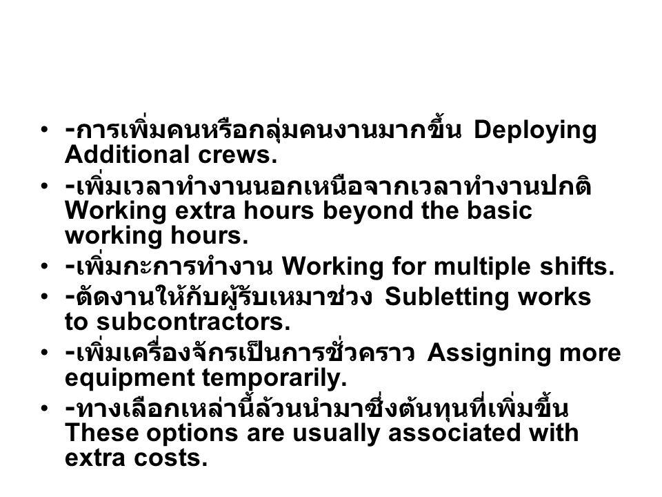 - การเพิ่มคนหรือกลุ่มคนงานมากขึ้น Deploying Additional crews.