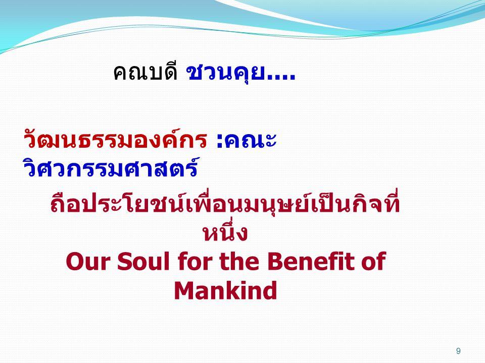 9 คณบดี ชวนคุย.... วัฒนธรรมองค์กร : คณะ วิศวกรรมศาสตร์ ถือประโยชน์เพื่อนมนุษย์เป็นกิจที่ หนึ่ง Our Soul for the Benefit of Mankind