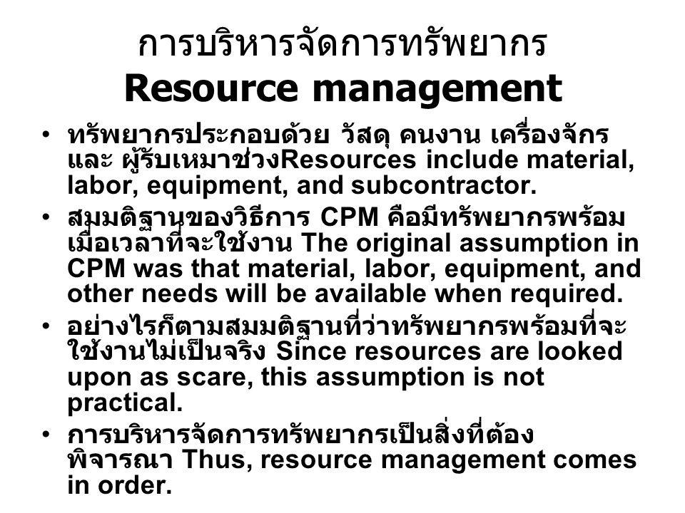 การบริหารจัดการทรัพยากร Resource management ทรัพยากรประกอบด้วย วัสดุ คนงาน เครื่องจักร และ ผู้รับเหมาช่วง Resources include material, labor, equipment, and subcontractor.