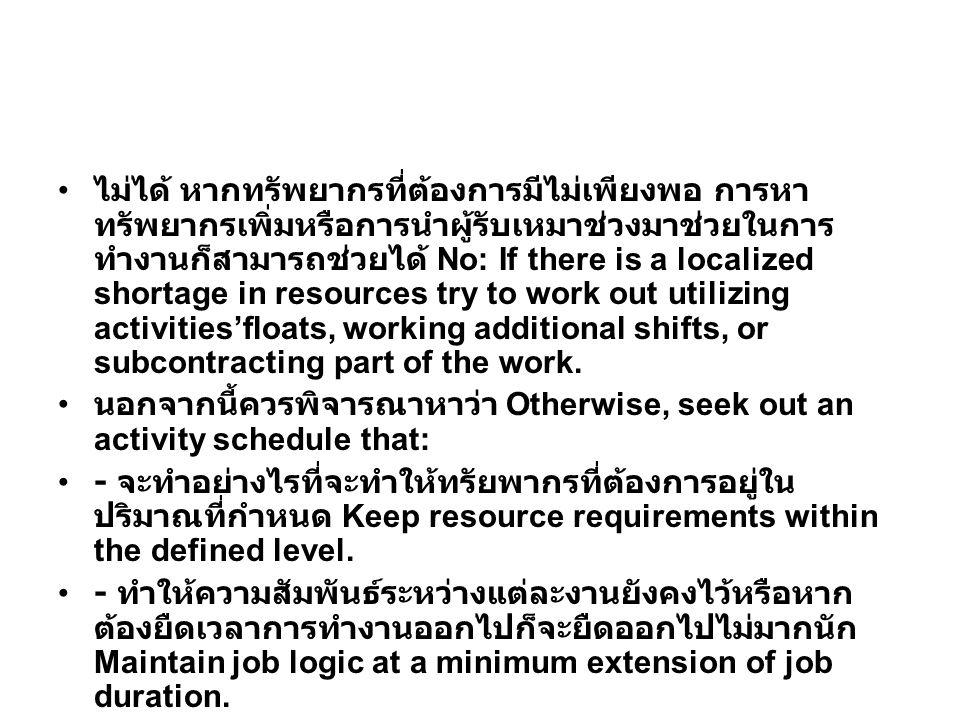 ไม่ได้ หากทรัพยากรที่ต้องการมีไม่เพียงพอ การหา ทรัพยากรเพิ่มหรือการนำผู้รับเหมาช่วงมาช่วยในการ ทำงานก็สามารถช่วยได้ No: If there is a localized shortage in resources try to work out utilizing activities'floats, working additional shifts, or subcontracting part of the work.