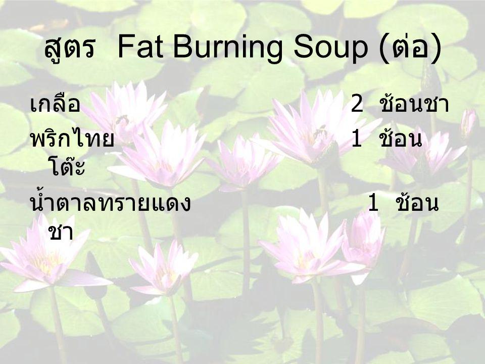 สูตร Fat Burning Soup ( ต่อ ) เกลือ 2 ช้อนชา พริกไทย 1 ช้อน โต๊ะ น้ำตาลทรายแดง 1 ช้อน ชา