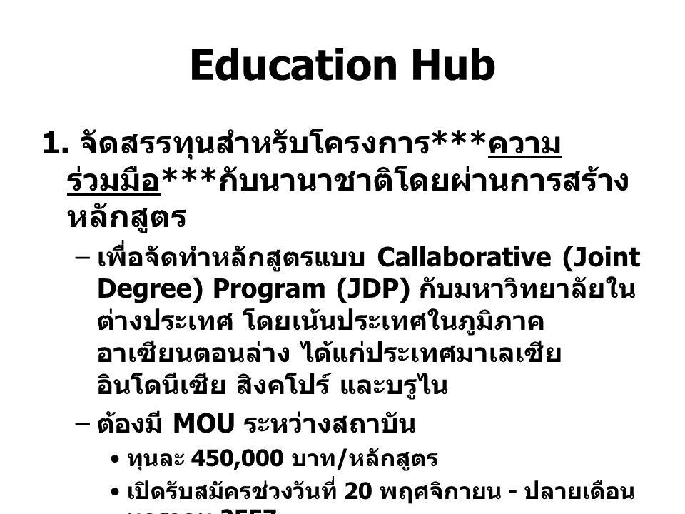Education Hub 1. จัดสรรทุนสำหรับโครงการ *** ความ ร่วมมือ *** กับนานาชาติโดยผ่านการสร้าง หลักสูตร – เพื่อจัดทำหลักสูตรแบบ Callaborative (Joint Degree)