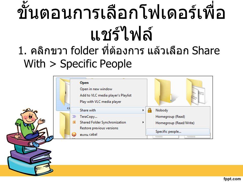 ขั้นตอนการเลือกโฟเดอร์เพื่อ แชร์ไฟล์ 1. คลิกขวา folder ที่ต้องการ แล้วเลือก Share With > Specific People
