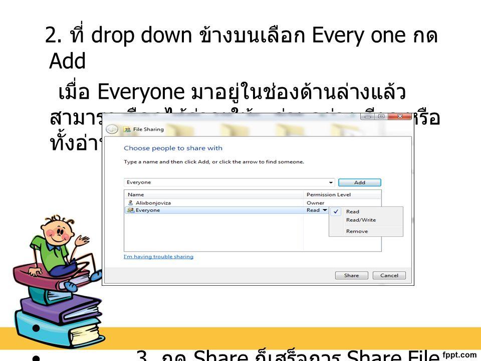 2. ที่ drop down ข้างบนเลือก Every one กด Add เมื่อ Everyone มาอยู่ในช่องด้านล่างแล้ว สามารถเลือกได้ว่าจะให้ อ่านอย่างเดียว หรือ ทั้งอ่านแล้วเขียน 3.