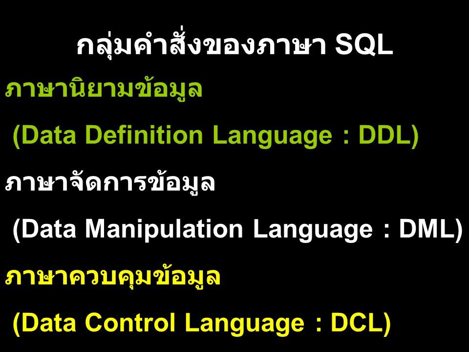 กลุ่มคำสั่งของภาษา SQL ภาษานิยามข้อมูล (Data Definition Language : DDL) ภาษาจัดการข้อมูล (Data Manipulation Language : DML) ภาษาควบคุมข้อมูล (Data Con