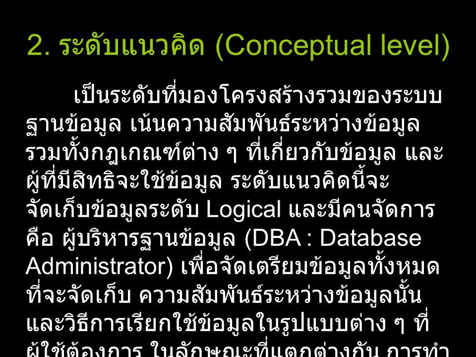 2. ระดับแนวคิด (Conceptual level) เป็นระดับที่มองโครงสร้างรวมของระบบ ฐานข้อมูล เน้นความสัมพันธ์ระหว่างข้อมูล รวมทั้งกฎเกณฑ์ต่าง ๆ ที่เกี่ยวกับข้อมูล แ