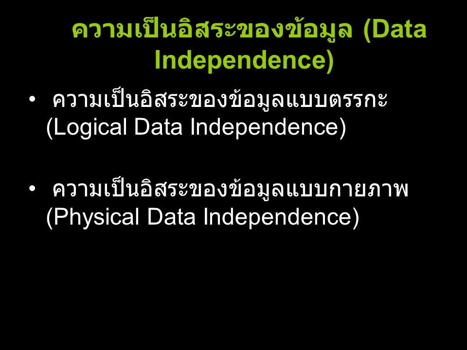 ความเป็นอิสระของข้อมูล (Data Independence) ความเป็นอิสระของข้อมูลแบบตรรกะ (Logical Data Independence) ความเป็นอิสระของข้อมูลแบบกายภาพ (Physical Data I