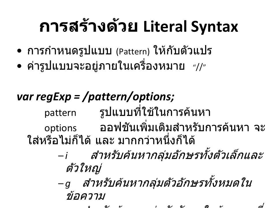 """การสร้างด้วย Literal Syntax การกำหนดรูปแบบ (Pattern) ให้กับตัวแปร ค่ารูปแบบจะอยู่ภายในเครื่องหมาย """" // """" var regExp = /pattern/options; pattern รูปแบบ"""